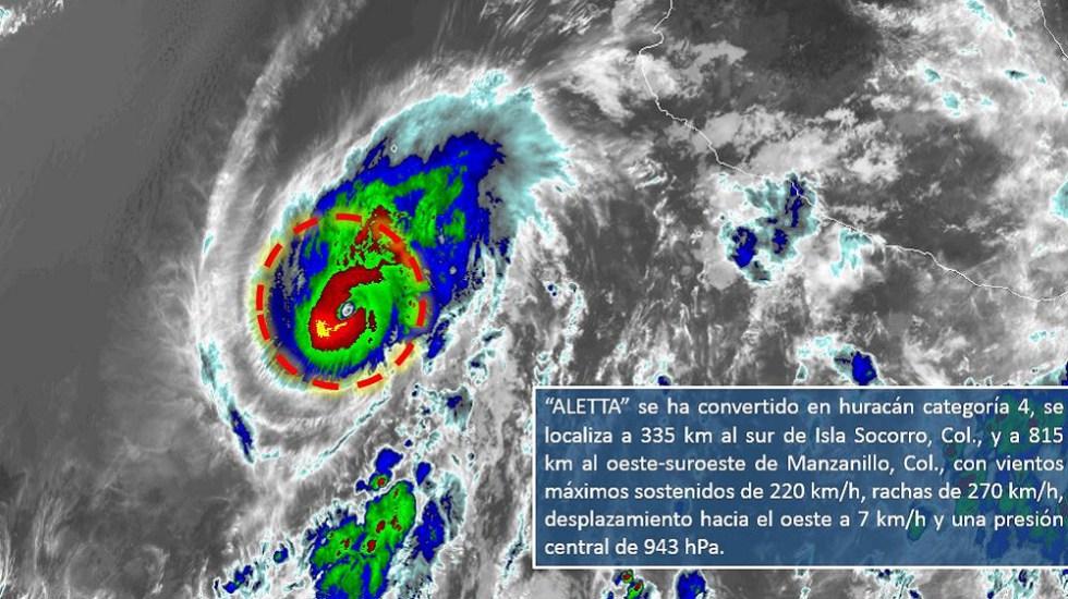 Huracán Aletta sube a categoría 4