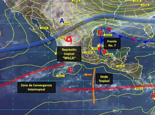 Willa provocará tormentas de fuertes a intensas en el norte del país
