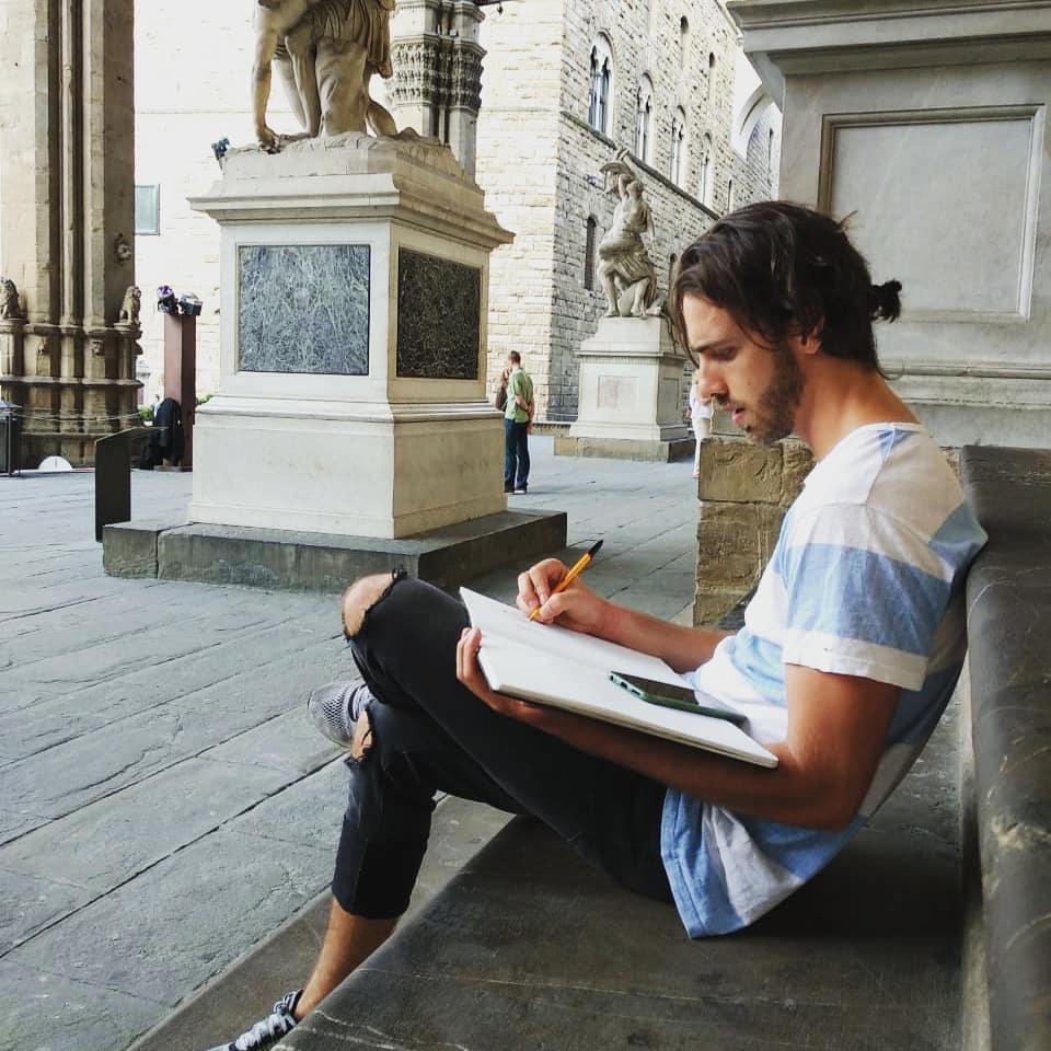Artista Francisco Diego hace dialogar deporte y pintura