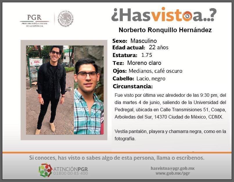 Norberto Ronquillo, el estudiante encontrado muerto.